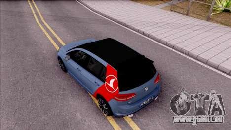 Volkswagen Golf 7 GTI Turkish Airlines pour GTA San Andreas vue arrière