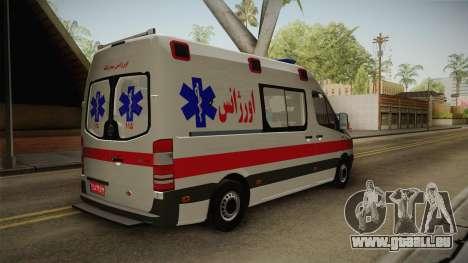 Mercedes-Benz Sprinter Iranian Ambulance pour GTA San Andreas vue de droite