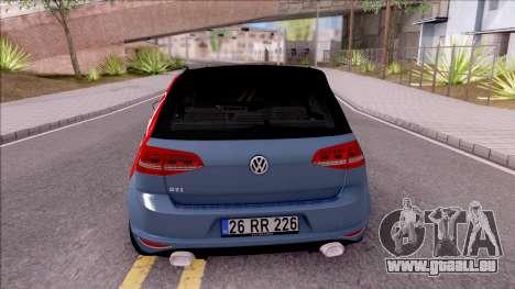 Volkswagen Golf 7 GTI Turkish Airlines pour GTA San Andreas sur la vue arrière gauche