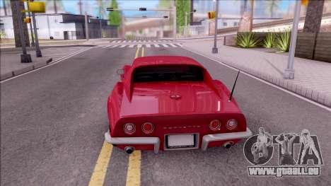 Chevrolet Corvette C3 Stingray pour GTA San Andreas sur la vue arrière gauche