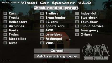 Visual Car Spawner v3.0 für GTA San Andreas