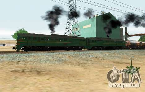 Güterzug-Lokomotive 2M62 1184 Masha für GTA San Andreas zurück linke Ansicht