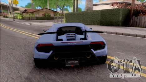 Lamborghini Huracan Performante pour GTA San Andreas sur la vue arrière gauche