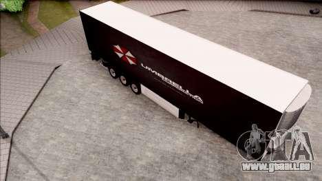Trailer Biohazard Umbrella Corp. pour GTA San Andreas sur la vue arrière gauche