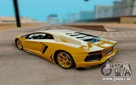 Lamborghini Aventador für GTA San Andreas zurück linke Ansicht