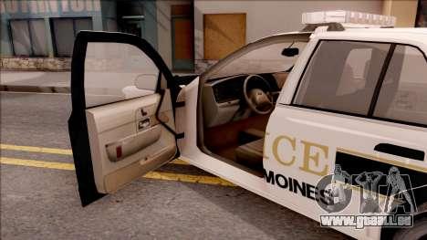 Ford Crown Victoria 2007 West Des Moines PD pour GTA San Andreas vue intérieure