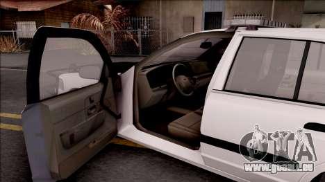 Ford Crown Victoria 2009 Des Moines PD pour GTA San Andreas vue intérieure