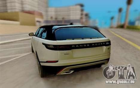 Range Rover Velar 2017 pour GTA San Andreas sur la vue arrière gauche