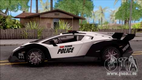 Lamborghini Veneno Police San Fierro für GTA San Andreas linke Ansicht