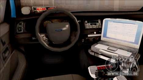 Ford Crown Victoria 2010 Iowa DOT MVE pour GTA San Andreas vue intérieure