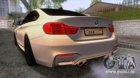 BMW M4 GTS High Quality pour GTA San Andreas vue de dessous
