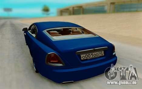 Rolls Royce Wraith für GTA San Andreas zurück linke Ansicht