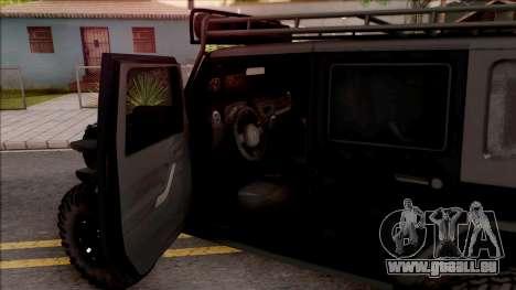 Jeep Wrangler Rubicon Off-Road pour GTA San Andreas vue intérieure
