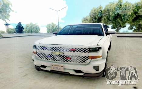 Chevrolet SIlverado 2017 Undercover Police pour GTA San Andreas vue arrière