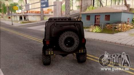 Jeep Wrangler Rubicon Off-Road pour GTA San Andreas sur la vue arrière gauche