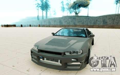 Nissan Skyline R34 pour GTA San Andreas vue arrière
