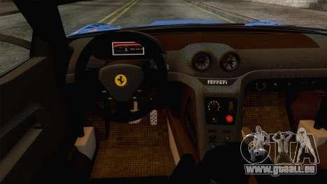 Ferrari GTO 599XX pour GTA San Andreas vue intérieure