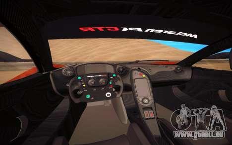 McLaren P1 GTR pour GTA San Andreas vue intérieure