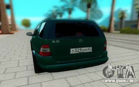 Mersedes-Benz ML 230 pour GTA San Andreas vue arrière