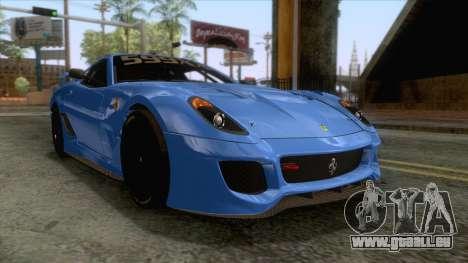Ferrari GTO 599XX pour GTA San Andreas sur la vue arrière gauche