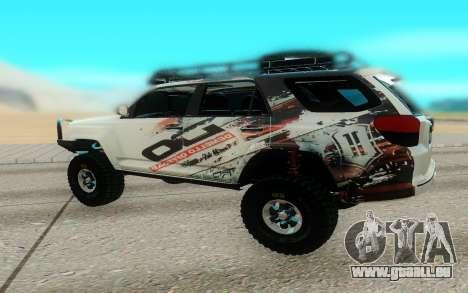 Toyota FJ Cruiser 4 Runner pour GTA San Andreas sur la vue arrière gauche