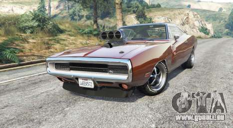 GTA 5 Dodge Charger RT (XS29) 1970 v4.0 [replace] droite vue latérale