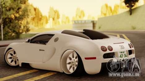Bugatti Veyron pour GTA San Andreas laissé vue