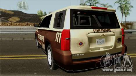 Chevrolet Tahoe 2015 Bone County Police pour GTA San Andreas