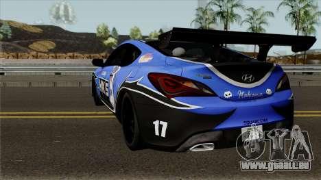 Hyundai Genesis Coupe HKS für GTA San Andreas zurück linke Ansicht