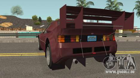 Vapid GB200 GTA V IVF pour GTA San Andreas sur la vue arrière gauche