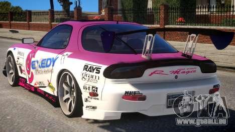RX-7 Exedy Drift Car pour GTA 4 Vue arrière de la gauche