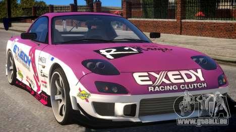 RX-7 Exedy Drift Car pour GTA 4 est une vue de l'intérieur