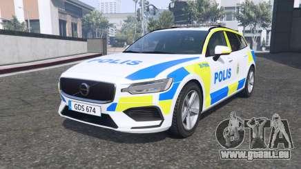Volvo V60 T6 2018 Swedish Police [ELS] [replace] pour GTA 5