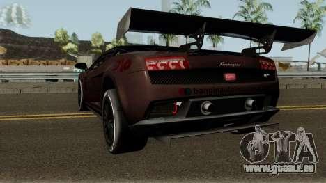 Lamborghini Gallardo LP 560-4 GT3 2012 pour GTA San Andreas sur la vue arrière gauche