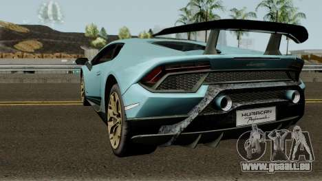 Lamborghini Huracan Perfomante 2017 für GTA San Andreas zurück linke Ansicht