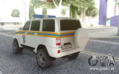 UAZ Patriot-MES für GTA San Andreas zurück linke Ansicht