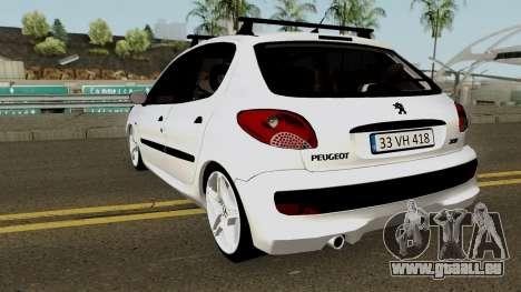 Peugeot 206 2012 pour GTA San Andreas sur la vue arrière gauche