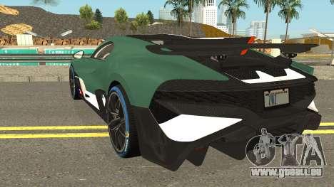 Bugatti Divo 2019 für GTA San Andreas zurück linke Ansicht