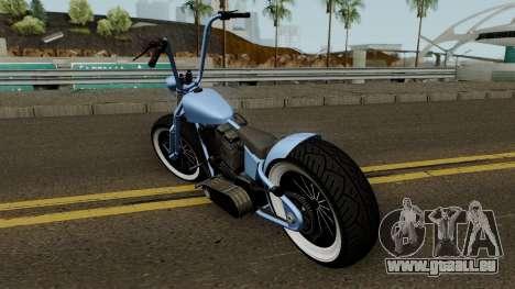 Western Motorcycle Zombie Bobber GTA V für GTA San Andreas zurück linke Ansicht