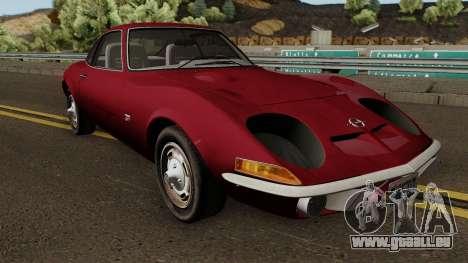 Opel GT 1900 1968 (US-Spec) pour GTA San Andreas vue intérieure
