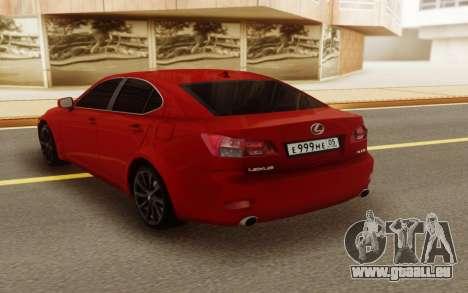 Lexus IS 250 V6 für GTA San Andreas zurück linke Ansicht
