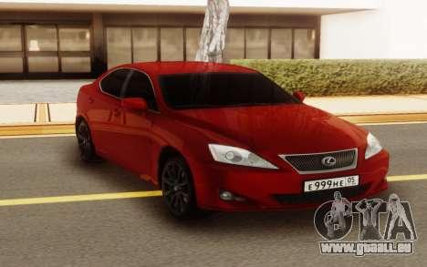 Lexus IS 250 V6 für GTA San Andreas Rückansicht