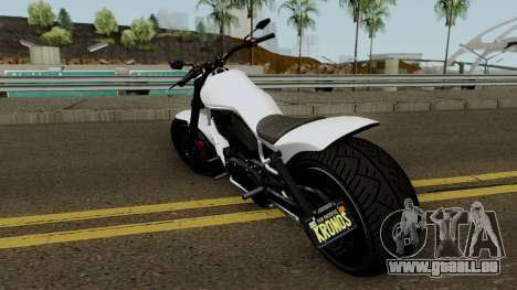 Western Motorcycle Nightblade GTA V für GTA San Andreas zurück linke Ansicht