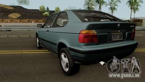 BMW 3-Series e36 Compact 318ti 1995 (US-Spec) pour GTA San Andreas sur la vue arrière gauche