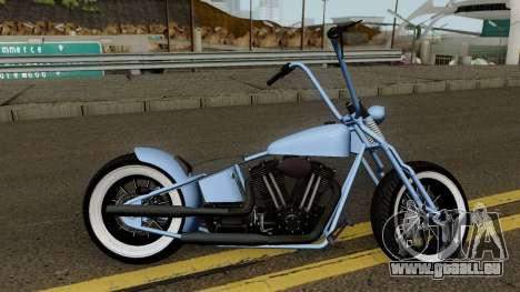 Western Motorcycle Zombie Bobber GTA V für GTA San Andreas Rückansicht